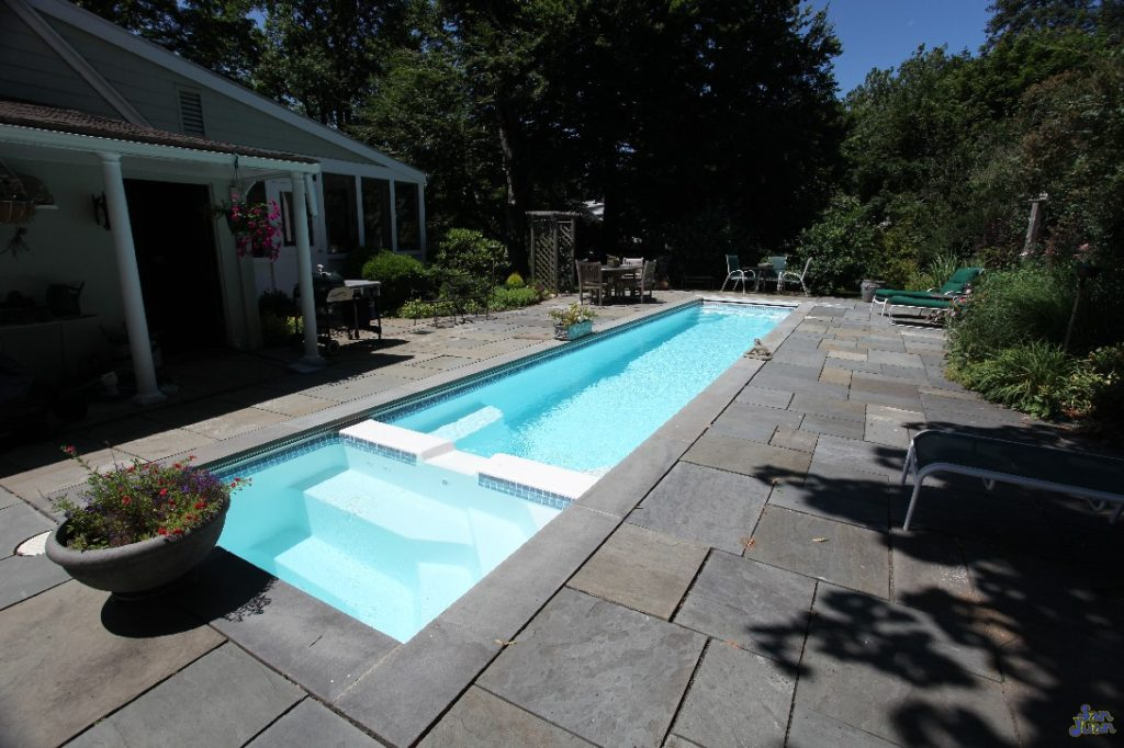 The Marathon is the longest fiberglass pool that we offer. It's overall length is 39' (including the size of the attached spa). It gives the swimmer plenty of space to stretch out and put in some laps before a morning at the office.