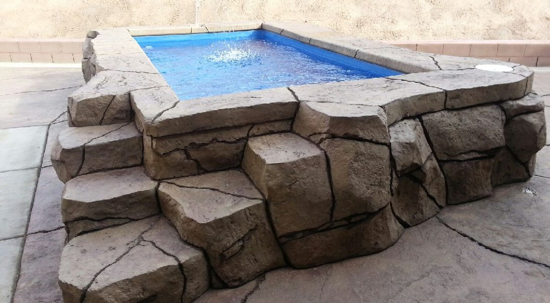 The Canyon Lake is a very unique fiberglass pool. In fact, the primary differentiator is its elevated design. Constructed to sit above ground, you're free to construct any array of natural materials around the outside. This is a great accent piece for any backyard and showcase pool for impress friends and family.