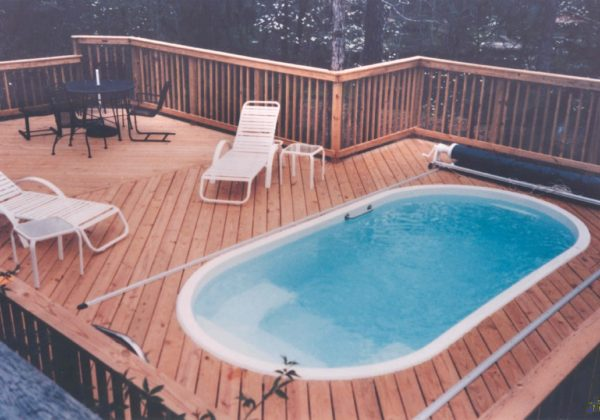 The Fort Meyers is one of our original fiberglass pool designs. In fact, we've brought out the old-school images to showcase how long this pool has been around. It's petite size of only 2,650 gallons makes it one of the small fiberglass pools we have to offer!