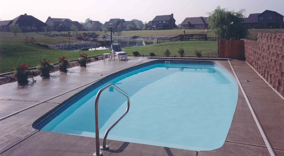 """The Majestic is a serene body of water with a conservative pool shape. Representative of a blend between an oval and a rectangle, the Majestic is a modern design with a modest deep end. It's overall depth of 5' 5"""" makes this swimming pool very safe and friendly to entry level swimmers."""