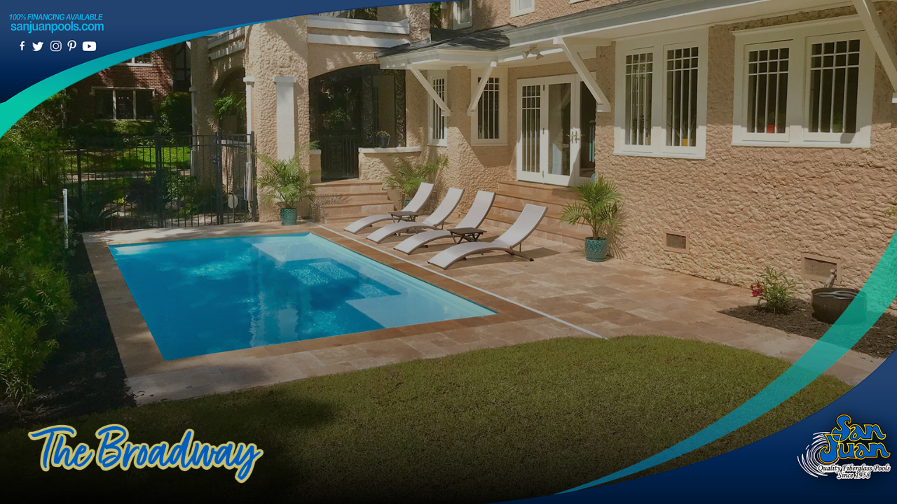 The Broadway – A Modern Rectangular Pool Shape with Two Tanning Ledges