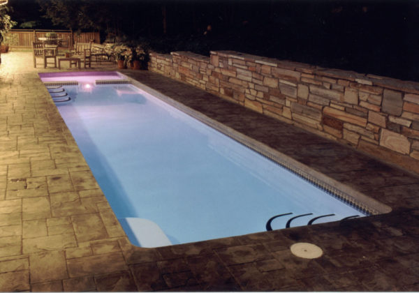 "The Marathon (No Spa) is our beautiful lap swimming fiberglass pool. Its elegant 34' length & 8' 6"" width is perfect for supporting dual swimmers for some recreational swimming. This is a great swimming pool for our clients who enjoy the great outdoors and require moderate to rigorous physical activity on a daily basis."