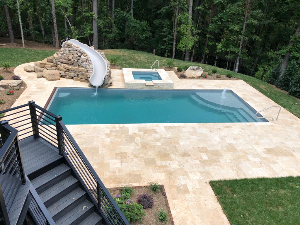 The Lido is a square fiberglass spa with a wrap-around bench seating & flat bottom layout. It's a perfect addition to any of our fiberglass swimming pools!