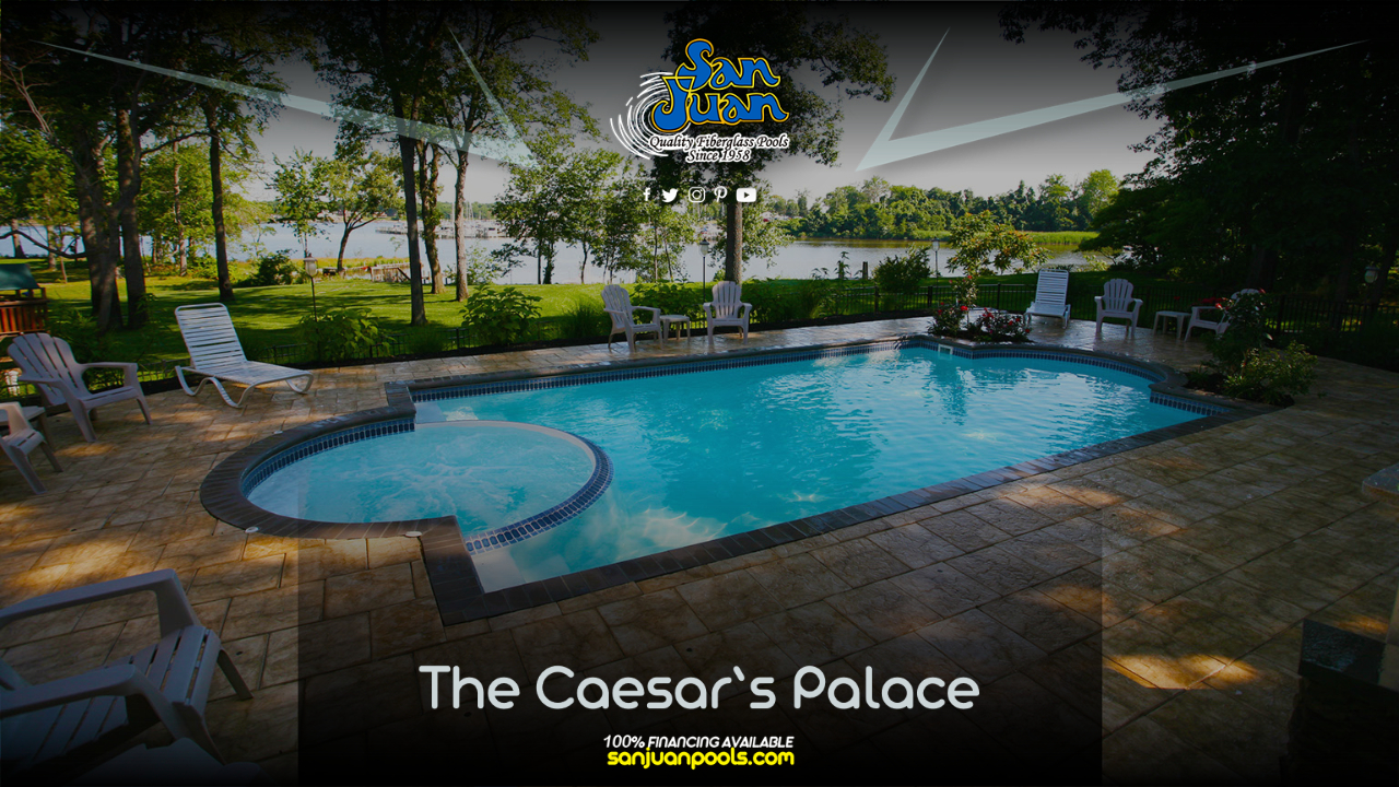 The Caesars Palace – The Grecian pool shape entails a rectangular shape paired with two curved ends.