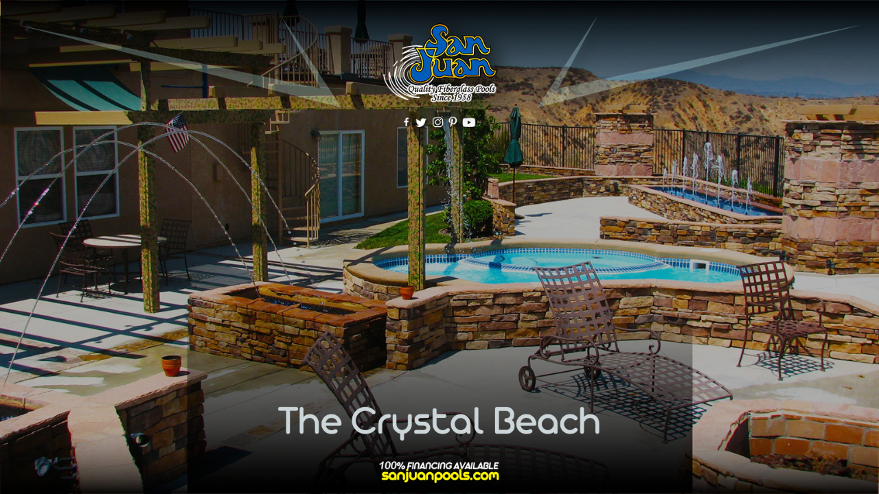 The Crystal Beach is a cozy little free form swimming pool that ships with an attached spa!