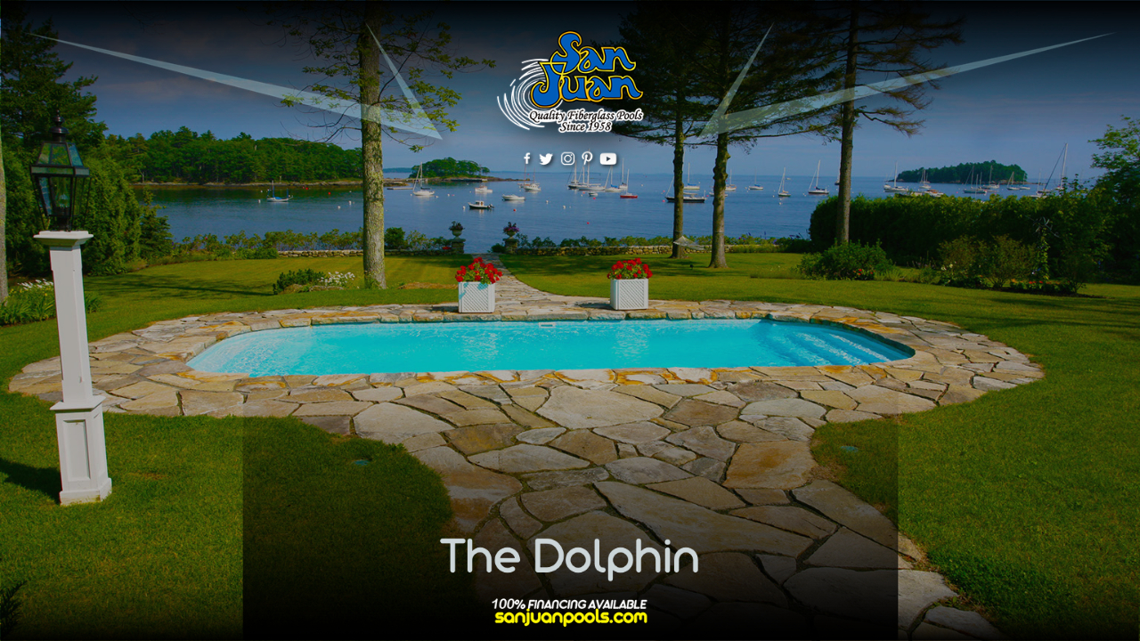 The Dolphin – This design includes a 32′ rectangle layout with large bowed ends that provide elongated Shallow End Steps