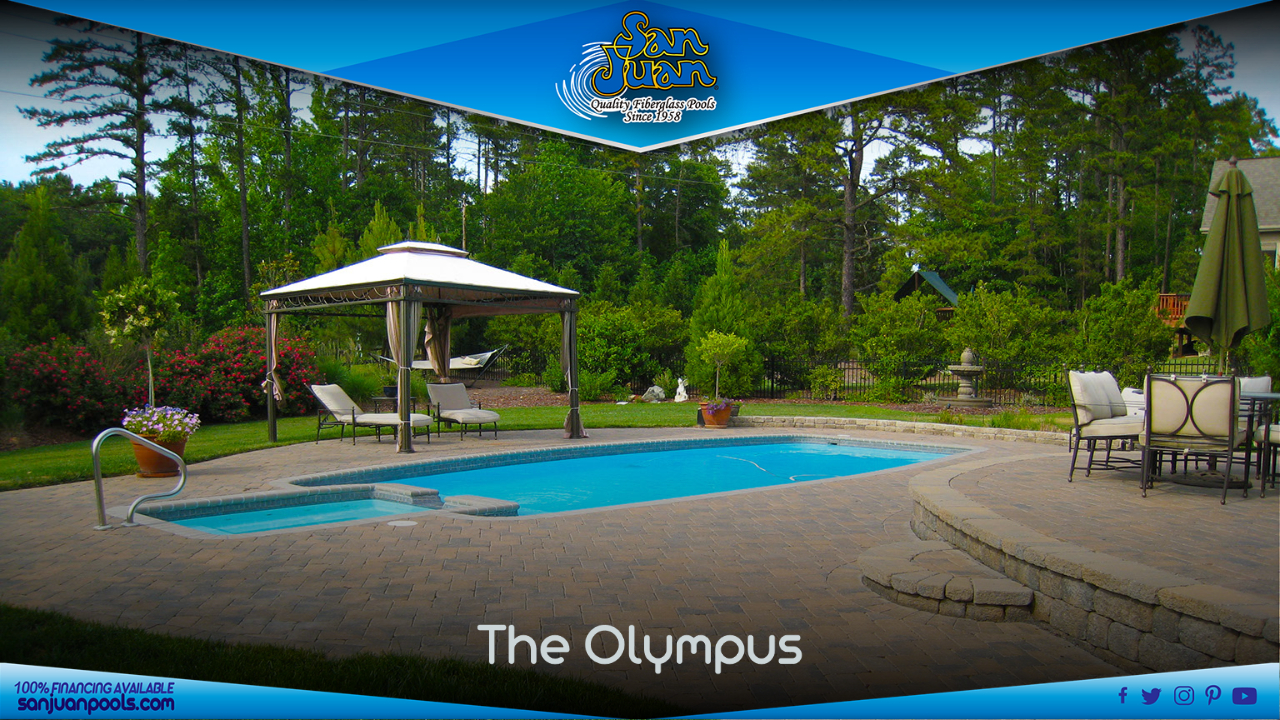 The Olympus is a modern twist on your standard rectangular pool shape.