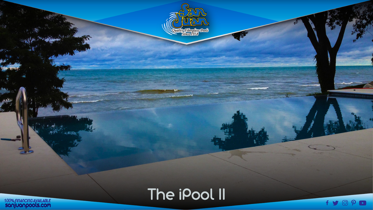 The iPool 2 - EXTRA LONG BACK WALL THAT IS OFTEN USED FOR A NEGATIVE EDGE WATER FEATURE