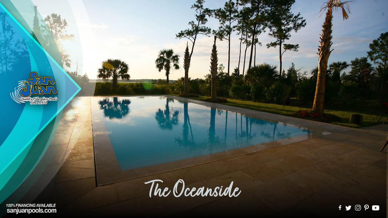 The Oceanside – A Beautiful Rectangle Pool with a Wide Set of Entry Steps