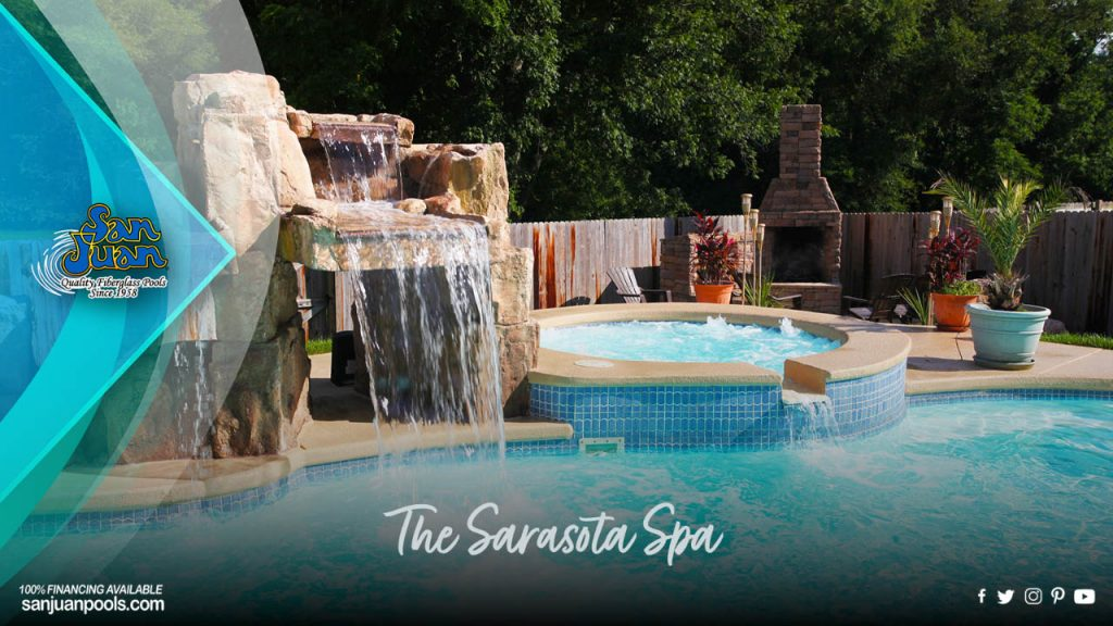 The Sarasota Spa – A Round Fiberglass Spa with an Optional Spillover Effect