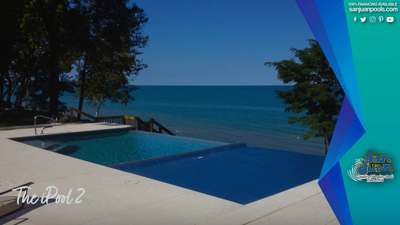 The iPool 2 – A Modern Fiberglass Pool with Tanning Ledges & Attached Spa